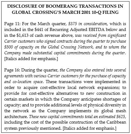 Disclosure of Boomerang Transactions in Global Crossing